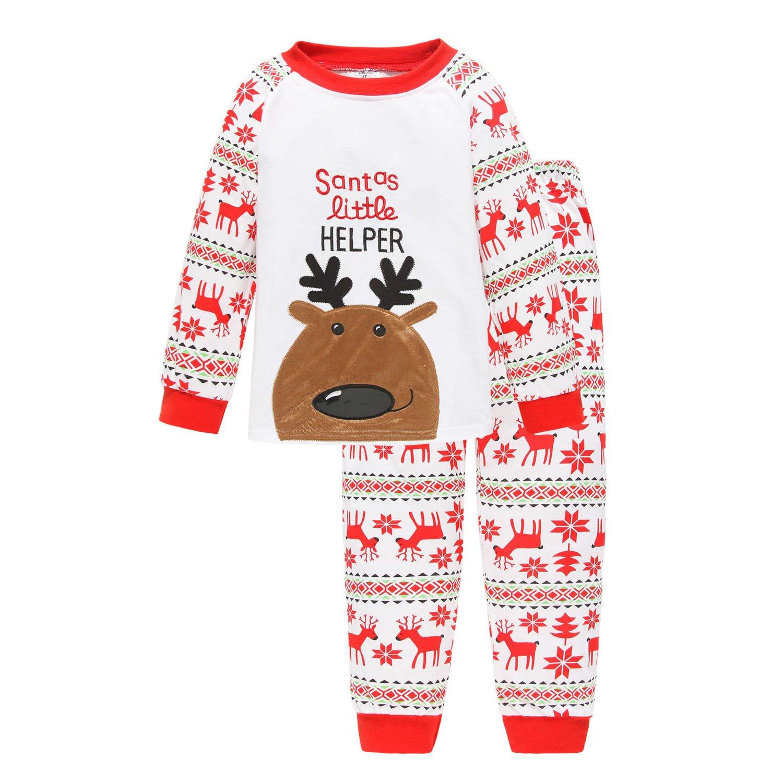 Toddler Kid Boys Girls Flying Reindeer Christmas Pjs Long Sleeve Pajamas Sets Bling Stars PS-01-9310-10