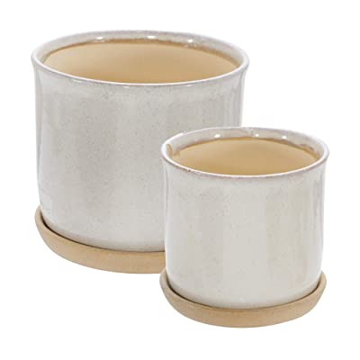"Sagebrook Home Set of 2 Ceramic 6 and 8"" Planter with Saucer 14807-05: Home & Kitchen"
