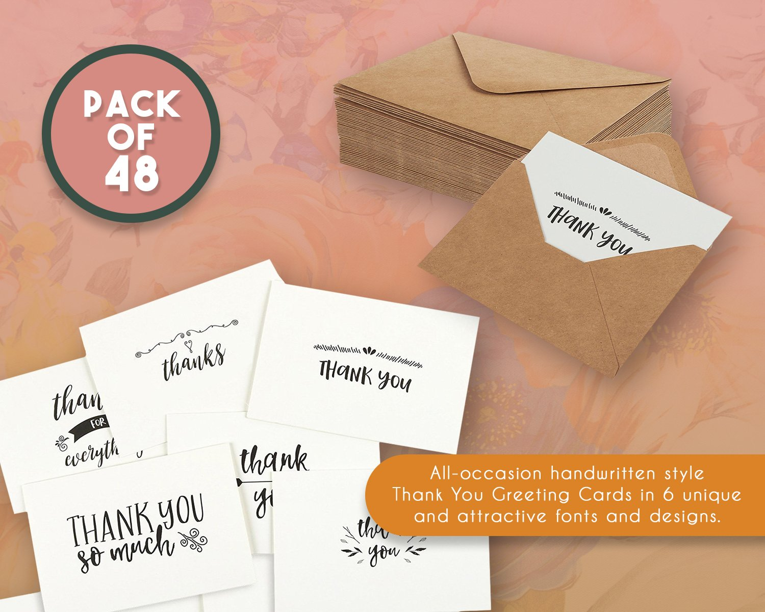 Amazon thank you cards 36 count thank you notes kraft amazon thank you cards 36 count thank you notes kraft paper bulk thank you cards set blank on the inside handwritten style includes thank you kristyandbryce Image collections