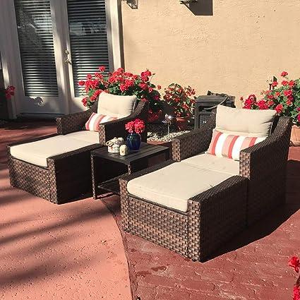 Amazon.com: SUNSITT Juego de 5 piezas de muebles de exterior ...
