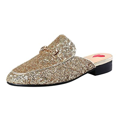 6acb23ba0e7b Vitalo Womens Flat Backless Loafers Ladies Slip On Closed Toe Glitter  Sparkly Mules  Amazon.co.uk  Shoes   Bags