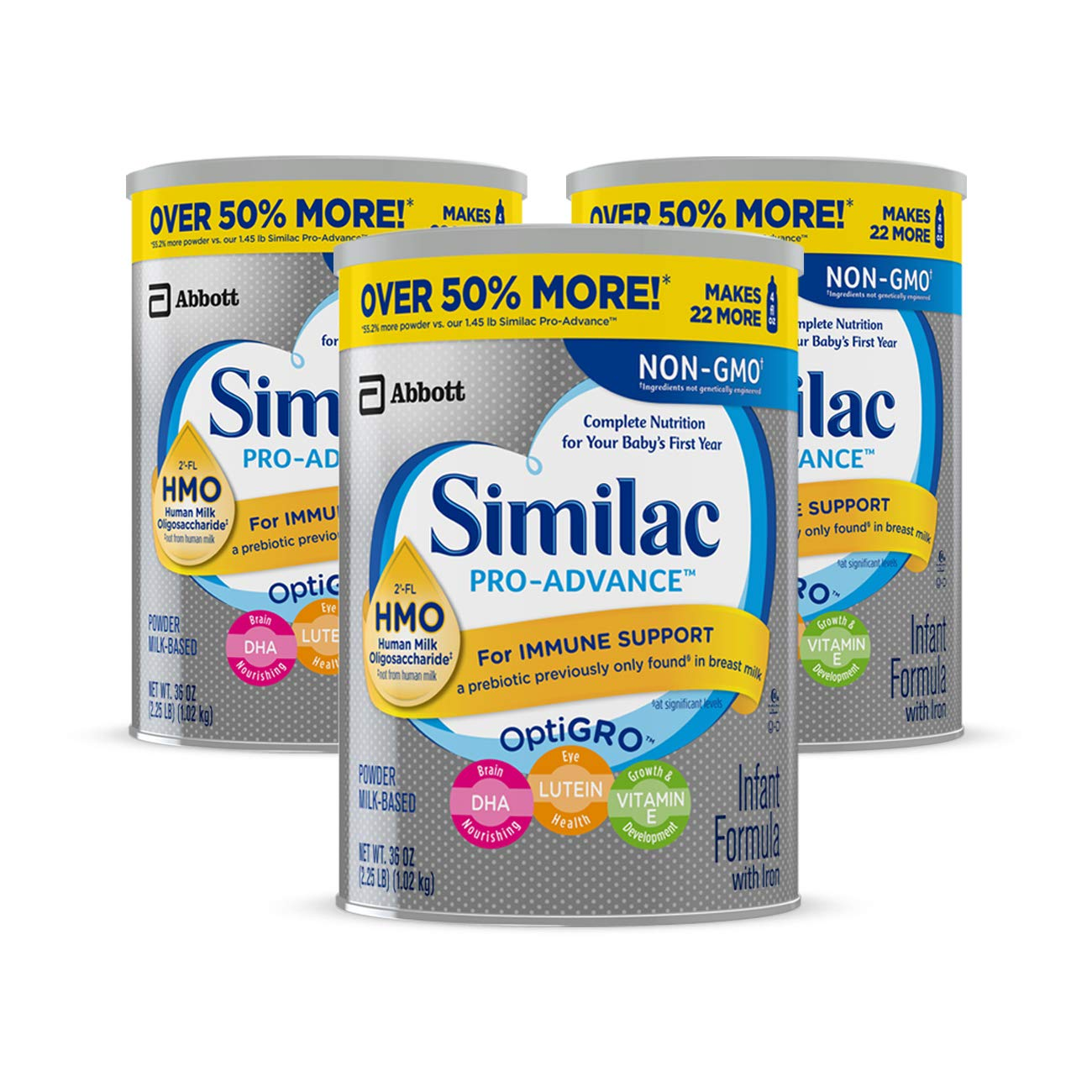 Similac Pro-Advance Non-GMO Infant Formula with Iron, with 2'-FL HMO, for Immune Support, Baby Formula, Powder, 36 oz, 3 Count (One-Month Supply) with 2'-FL HMO Abbott Nutrition 070074668321