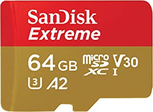 SanDisk Extreme - Tarjeta de memoria microSDXC de 64GB con adaptador SD, A2, hasta 160MB/s, Class 10, U3 y V30