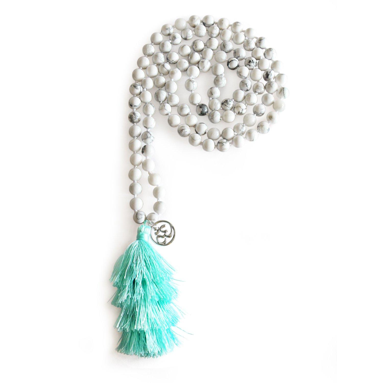 MHZ JEWELS White Howlite Mala Beads Buddhist Pray Necklace Women Men Long Tassel OM Charm Necklace Yoga Jewelry