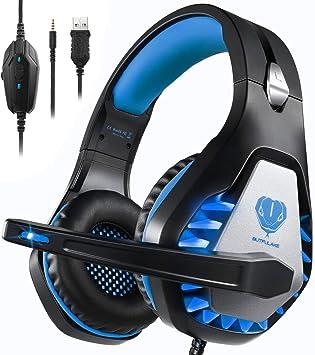 Pacrate Auriculares Gaming para PS4/Xbox One/Nintendo Switch, GH-1 Cascos Gaming con Sonido Envolvente y Cancelación de Ruido Auriculares Diadema con 3.5mm Jack con Luz LED: Amazon.es: Electrónica