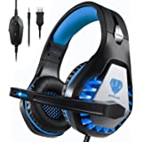 Pacrate Gaming Headset for Xbox One, PS4, PC, Mac, Laptop with Noise Cancelling Mic - Surround Gaming Headphones - Soft Memory Over Ear PS4 Headset with LED Light for Child, Men, Women