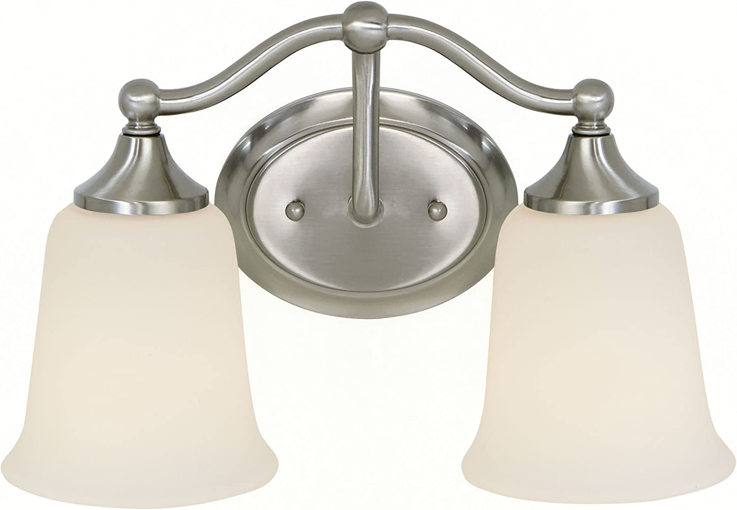 Feiss VS10502-BS Claridge Glass Wall Vanity Bath Lighting, Satin Nickel, 2-Light 13 W x 8 H 200watts
