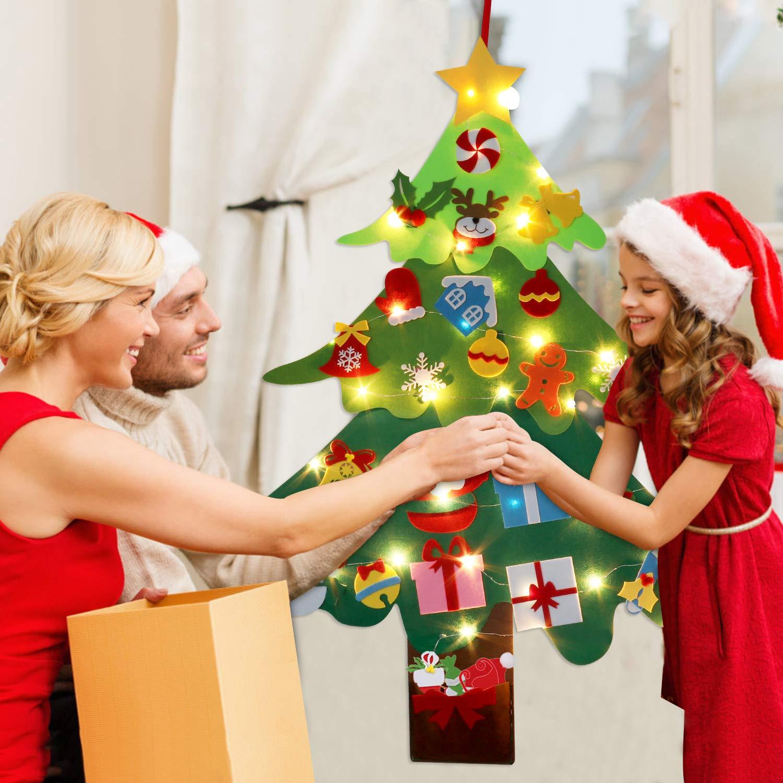 Filz Weihnachtsbaum DIY, lustiger Weihnachten deko mit hängenden Verzierungen Verzierungen für Kinder, die Weihnachtsspiel-pädagogisches Spielzeug verzieren