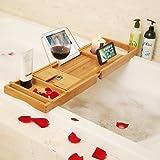 BAMBUROBA Bamboo Bathtub Caddy Tray Bathroom Organizer with Expandable Sides Holder for Book Glass Towel