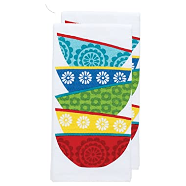 T-fal Textiles Double Sided Print Woven Cotton Kitchen Dish Towel Set, 2-pack, 16  x 26 , Dish Stack Print