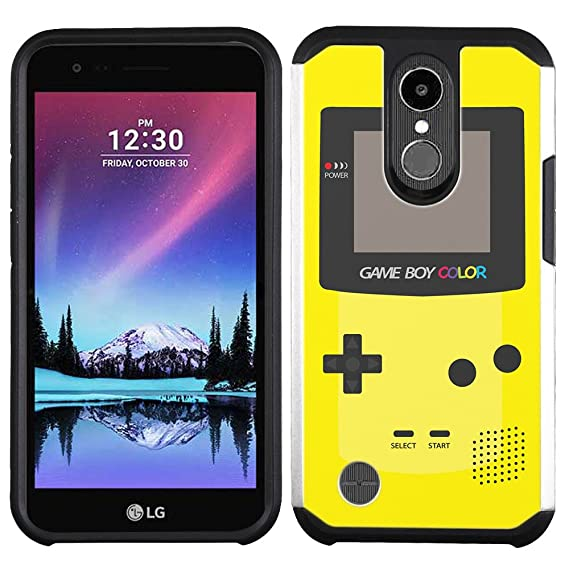 LG K20 Plus case - [GameBoy Color Yellow] (Silver) PaletteShield dual-layer hybrid rugged armor skin phone cover (fit LG K20 Plus / K20v)