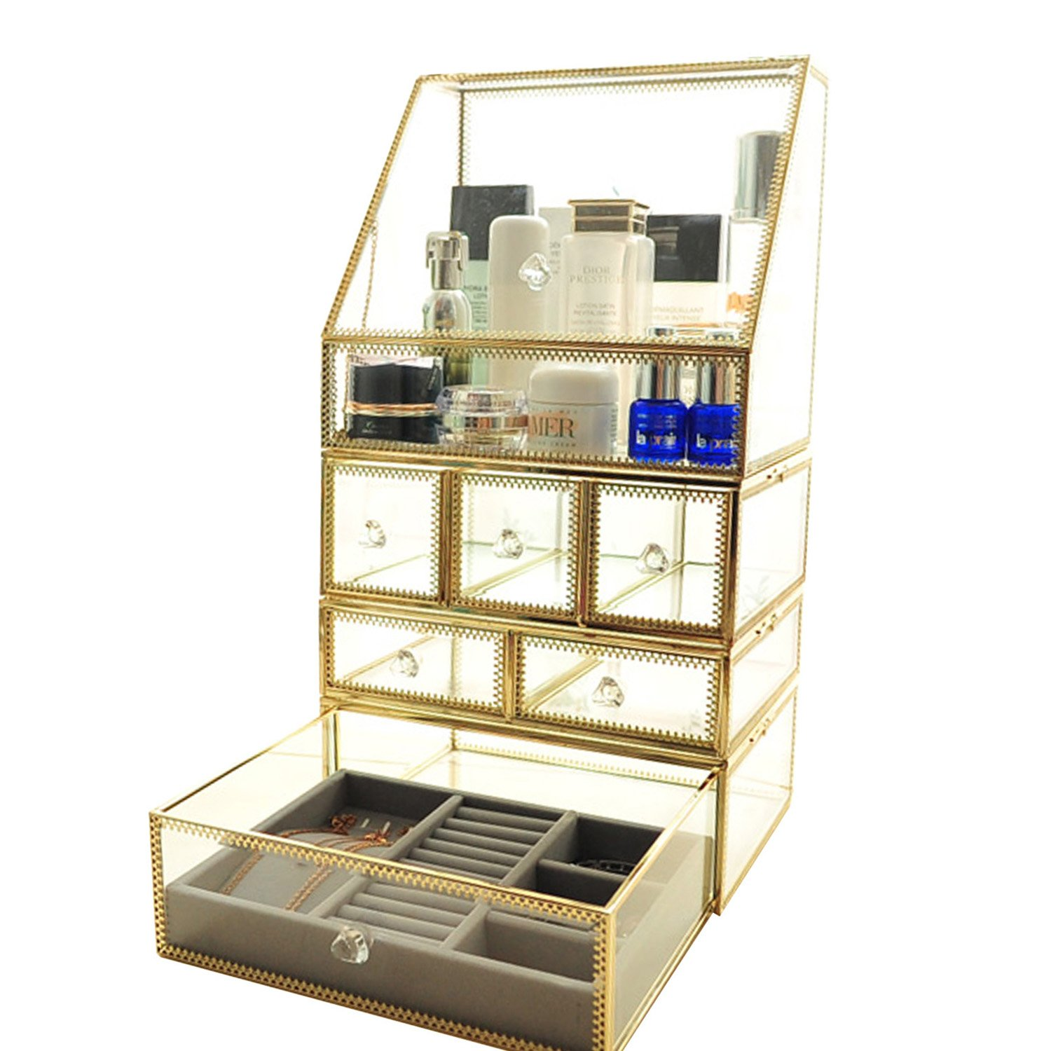 Hersoo Gold Vintage Spacious 4 Tier Drawers Clear Glass with Brass Metal Cosmetic Makeup Storage Cube Set. It Consists of 4 Separate Organizers Front Open Lid-Display by Hersoo