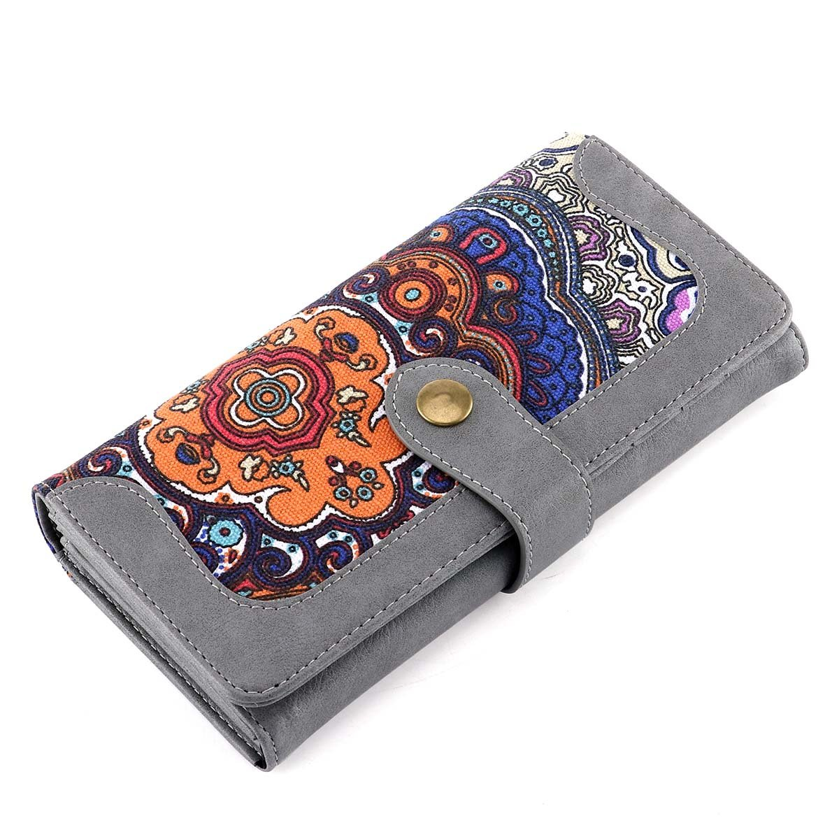 Women Wallet Large Capacity Clutch Wallet Holder Purse with ID Window and Inner Zipper Pocket (Grey)