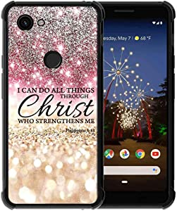 for Google Pixel 3a Case Rose Pink Silver Glitter Pattern, ABLOOMBOX Slim Thin Anti-Scratch Flexible Bumper Case with Reinforced Corner for Google Pixel 3a Phone Case (2019)