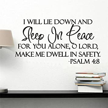 Amazon Wowall I Will Lay Down And Sleep In Peace Bible Quotes