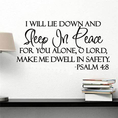 Wowall I Will Lay Down And Sleep In Peace Bible Quotes Saying Words Living  Room Wall