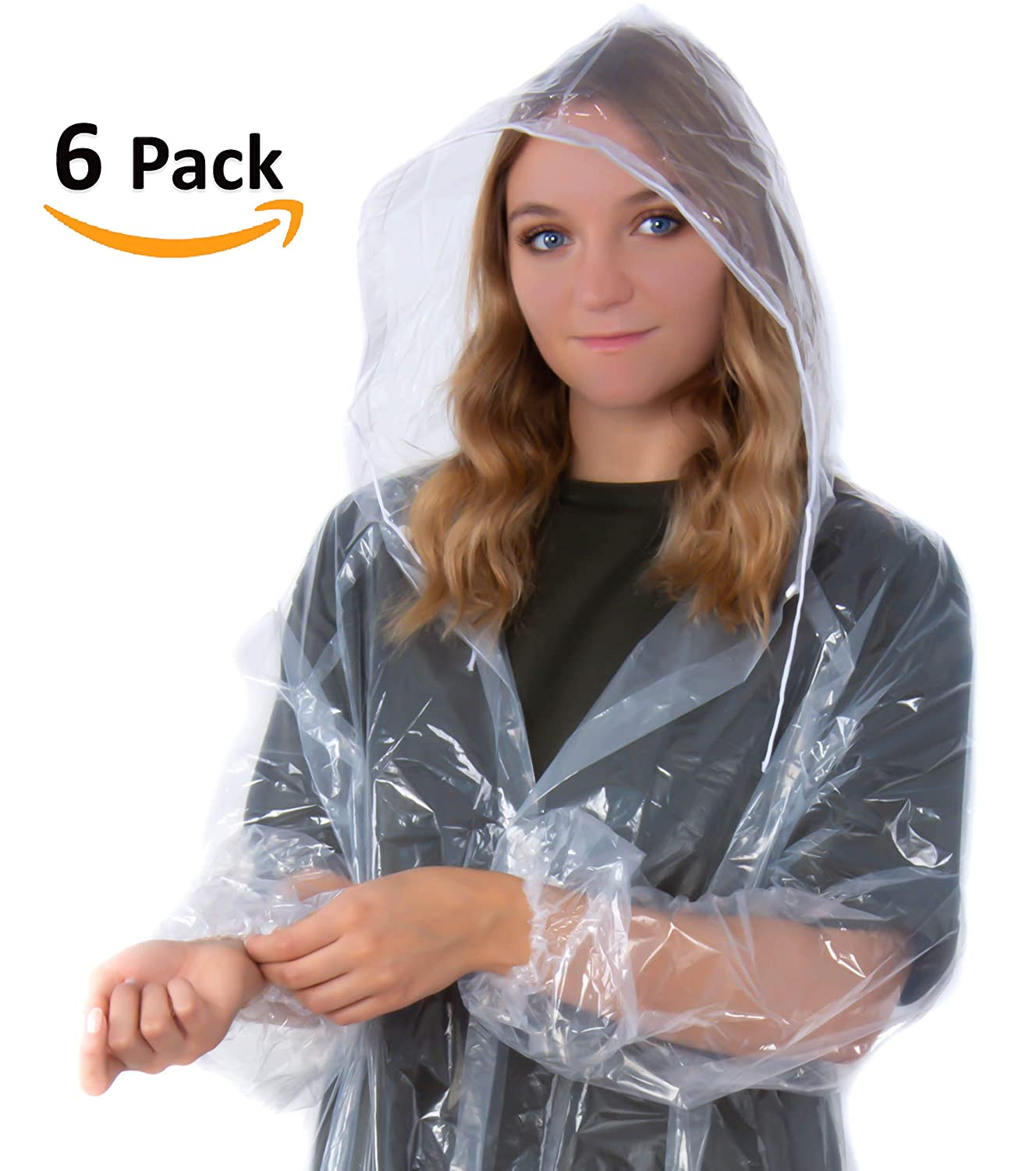 Suniry RAIN Poncho | Clear Disposable Adult Raincoat for Mens & Womens with Hood | Emergency Gear Lightweight Ponchos | 6 Pack!