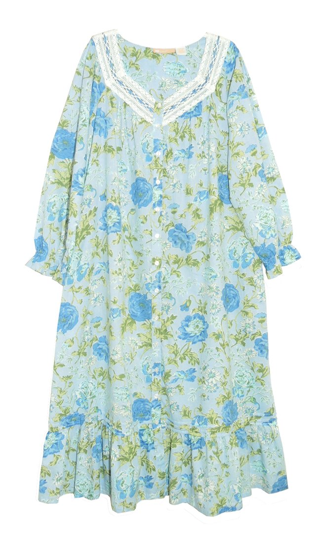 La Cera Women's Robe 4X Blue Plus Size