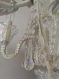 Amazon Com Crystal Bead Antique White Candelabra Ceiling
