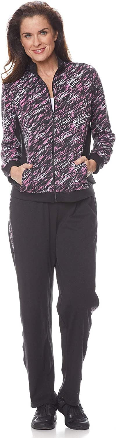 AmeriMark Casual Pantset for Women Anorak Stripe Jacket with Straight Leg Pants