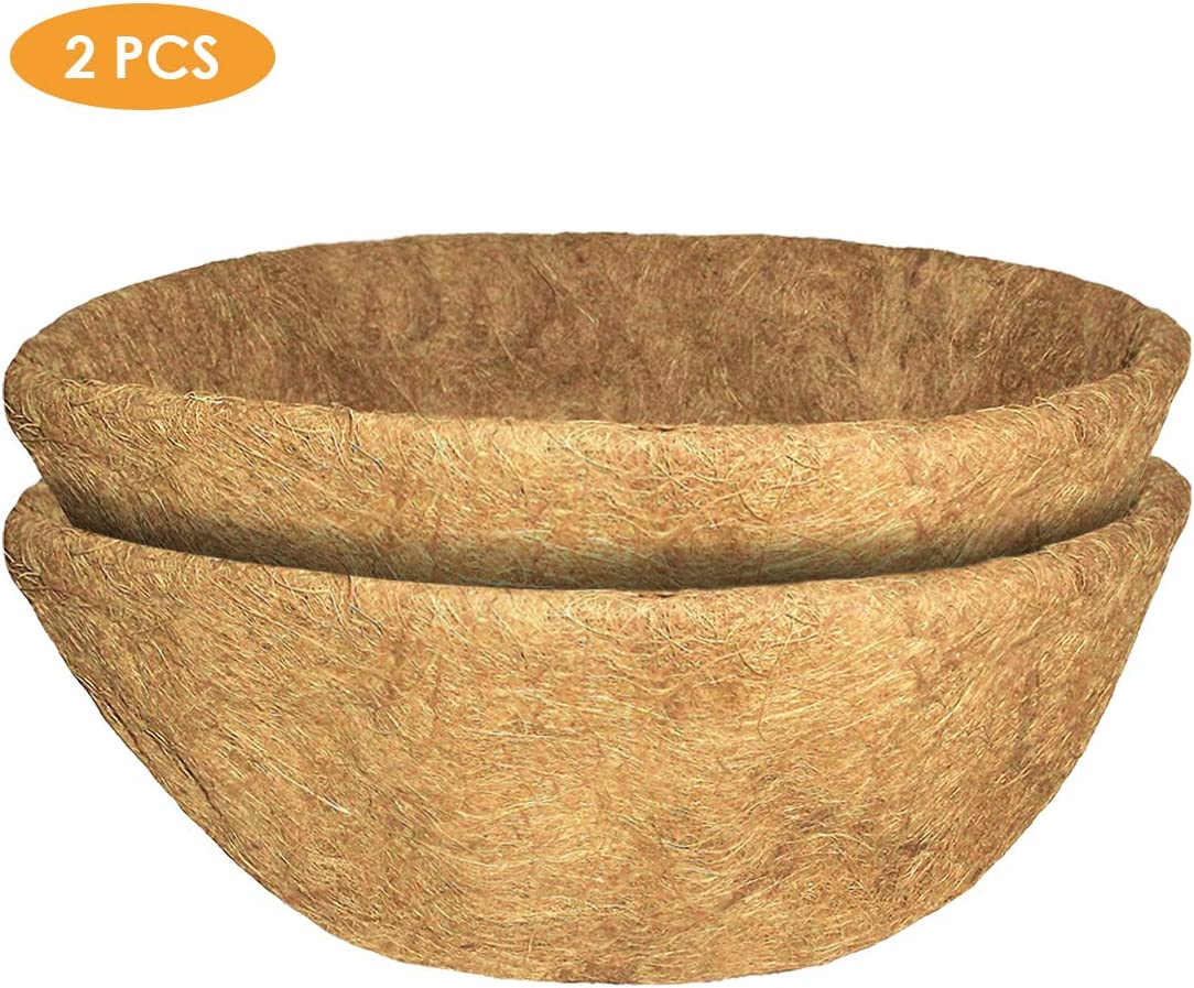 Yinuoday 2 Pack Coconut Planter Liners, Replacement Hanging Basket Liners Round Coconut Coir Fiber Liner for Indoor Outdoor Garden Planter Flower 8/10/12/14 inch