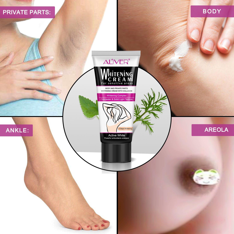 Natural Underarm Whitening Cream, Armpit Lightening & Brightening Deodorant Cream, Body Creams, Underarm Repair Whitening Cream Between Legs Knees Sensitive Areas 60g by ALIVER (Image #7)
