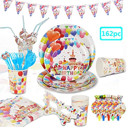 Cutlery Sunny Day Deluxe Birthday Party Supplies Bundle Set for 16 Guests Plates Napkin Banner Tablecover