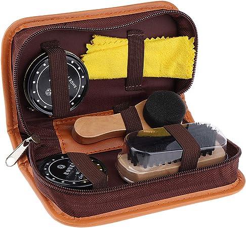 non-brand Kit Entretien Chaussure Coffret Voyage Cirage Nettoyant Brosse Outil de Chaussure