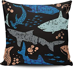Fanaing Abstract Sharks Watercolor Pillowcase Home Sofa Decorative 22X22 Inch Square Throw Pillow Case Cushion Covers Double Sided Printed