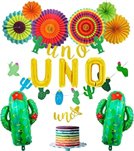 Uno First Party Decorations Fiesta 1st Birthday Party Decorations with Uno Balloon Cake Topper Banner Cactus Balloons