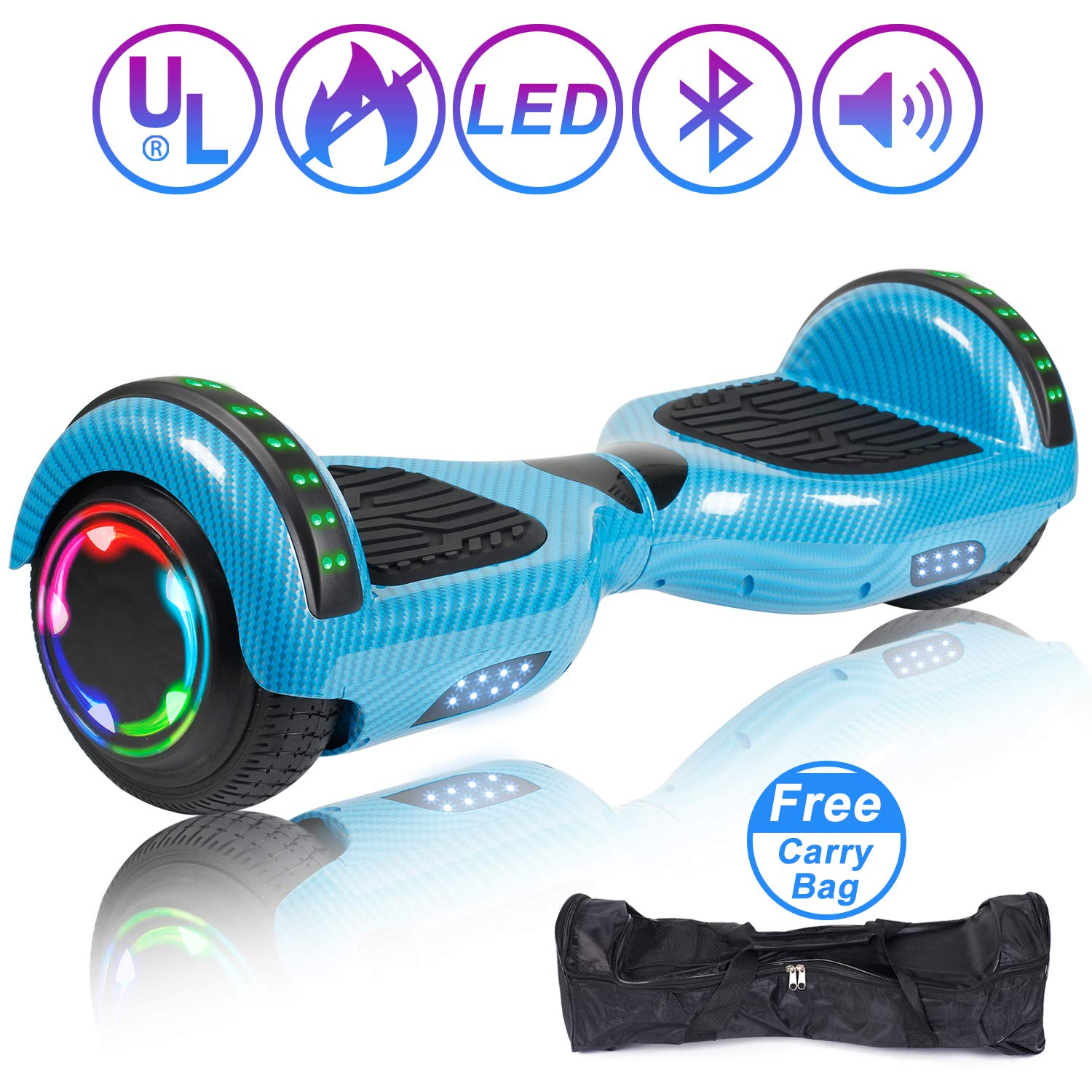 Hoverboard Self Balancing Scooter 6.5'' Two-Wheel Self Balancing Hoverboard with Bluetooth Speaker and LED Lights Electric Scooter for Adult Kids Gift UL 2272 Certified Fun Edition - Carbon Blue
