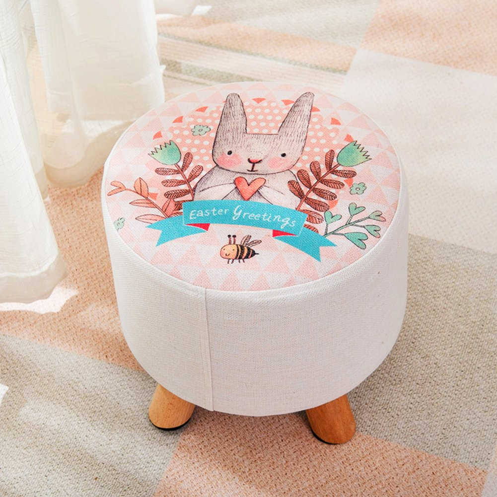 HM&DX Ottoman Footstool Round,Upholstered Footrest Stool With Removable Linen Fabric Cover Rabbit Pattern Seat-A