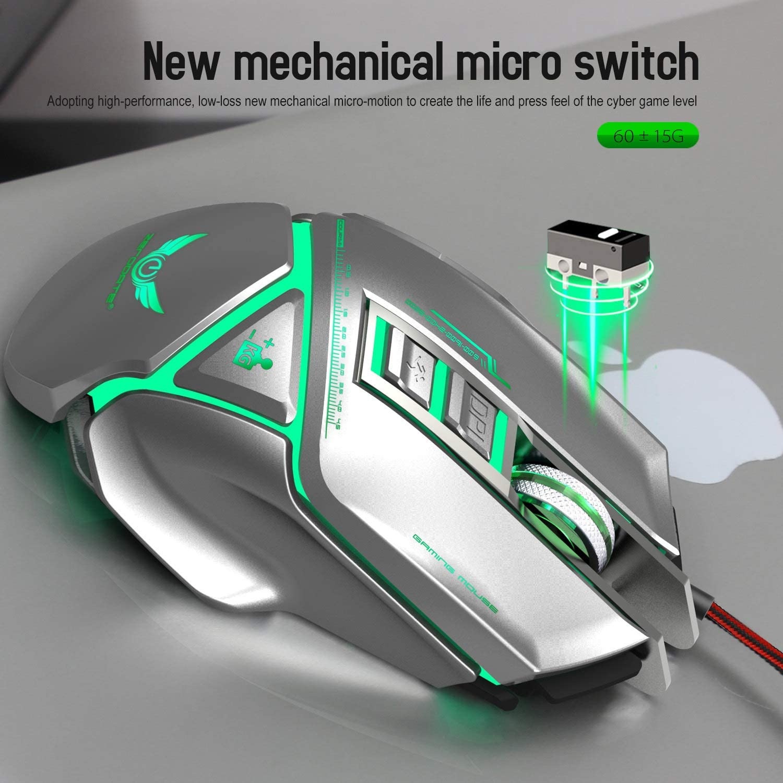 11 Programmable Keys JXH Mechanical Mouse USB Plug and Play,Support Windows 2000 // XP // Win7-Win10 Vista 32Bit iOS Or Latest,Black 4-Level Adjustable DPI Maximum 3200 DPI