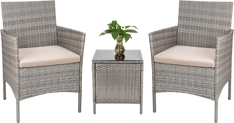 Tozey 3 Pieces Patio Furniture Sets PE Rattan Outdoor Conversation Set with Table Backyard Porch Garden Poolside Balcony (Grey)