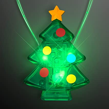 green flashing led light up christmas tree necklace