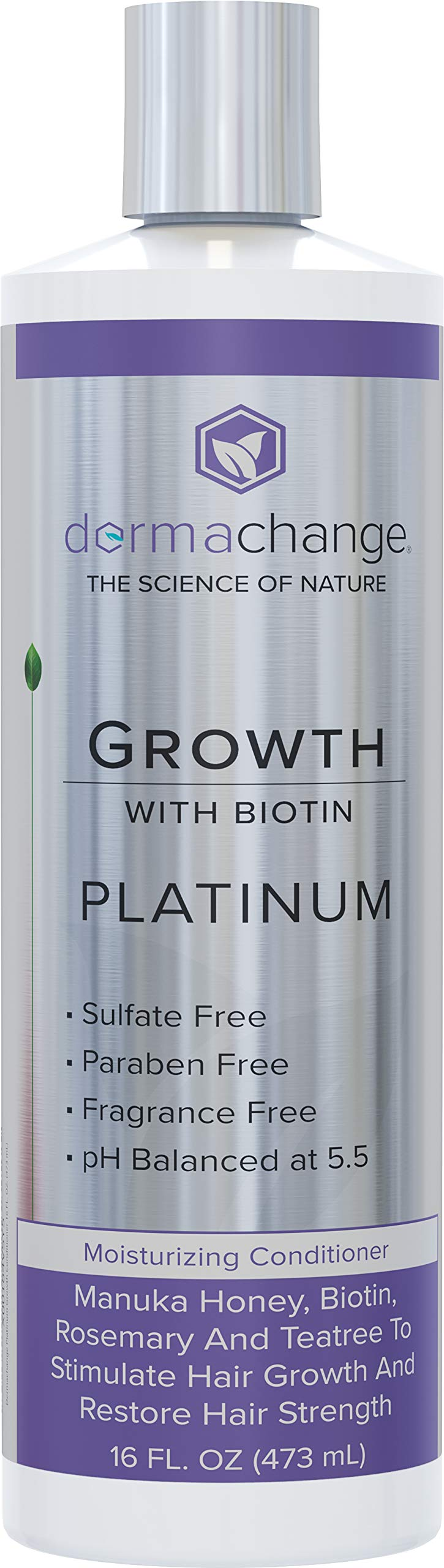Platinum Hair Growth Moisturizing Conditioner - With Argan Oil, Biotin & Tea Tree Extract - Supports Hair Regrowth - Hair Loss Treatments (16 oz) - Made in USA by DermaChange