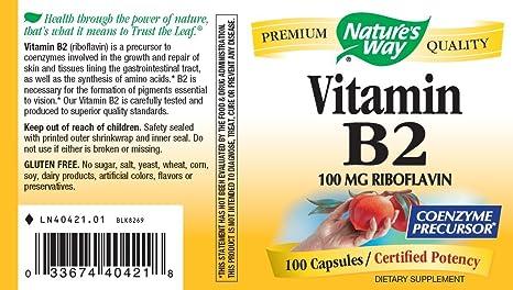 Natures Way, Vitamin B2 - 100mg x100caps: Amazon.es: Salud y cuidado personal