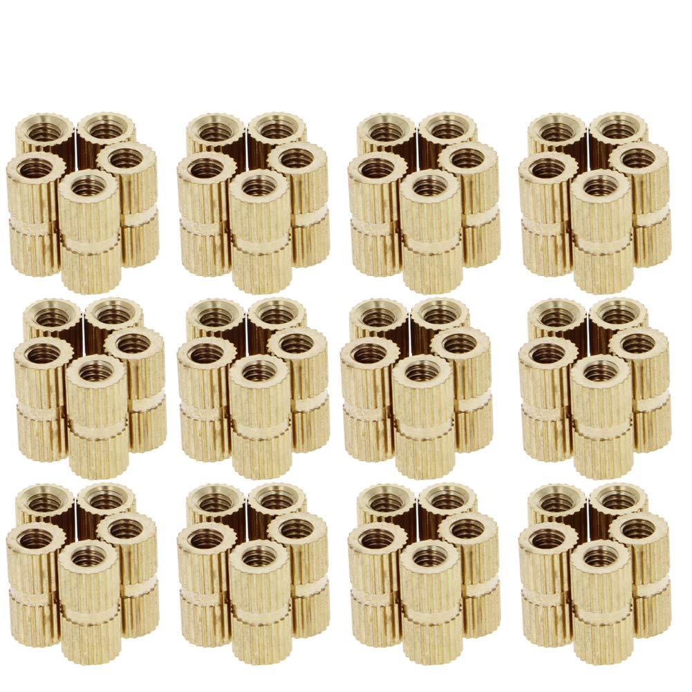 MroMax 50PCS M4 x 6 x 8mm Female Thread Nuts Brass Threaded Insert Embedment Nuts Assortment Kit for 3D Printing