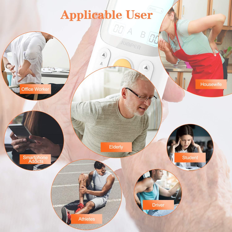 6 modalit/à di dolore per 2 utenti JUMPER Dispositivo a due canali per terapia a decine di macchine per la gestione del dolore con 5 programmi di massaggio macchina a TENS per alleviare il dolore
