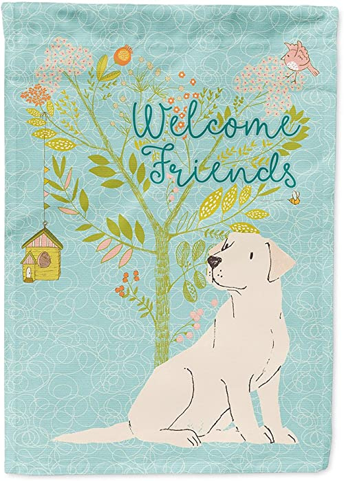 Caroline's Treasures BB7596GF Welcome Friends Yellow Labrador Retriever Flag Garden Size, Small, Multicolor