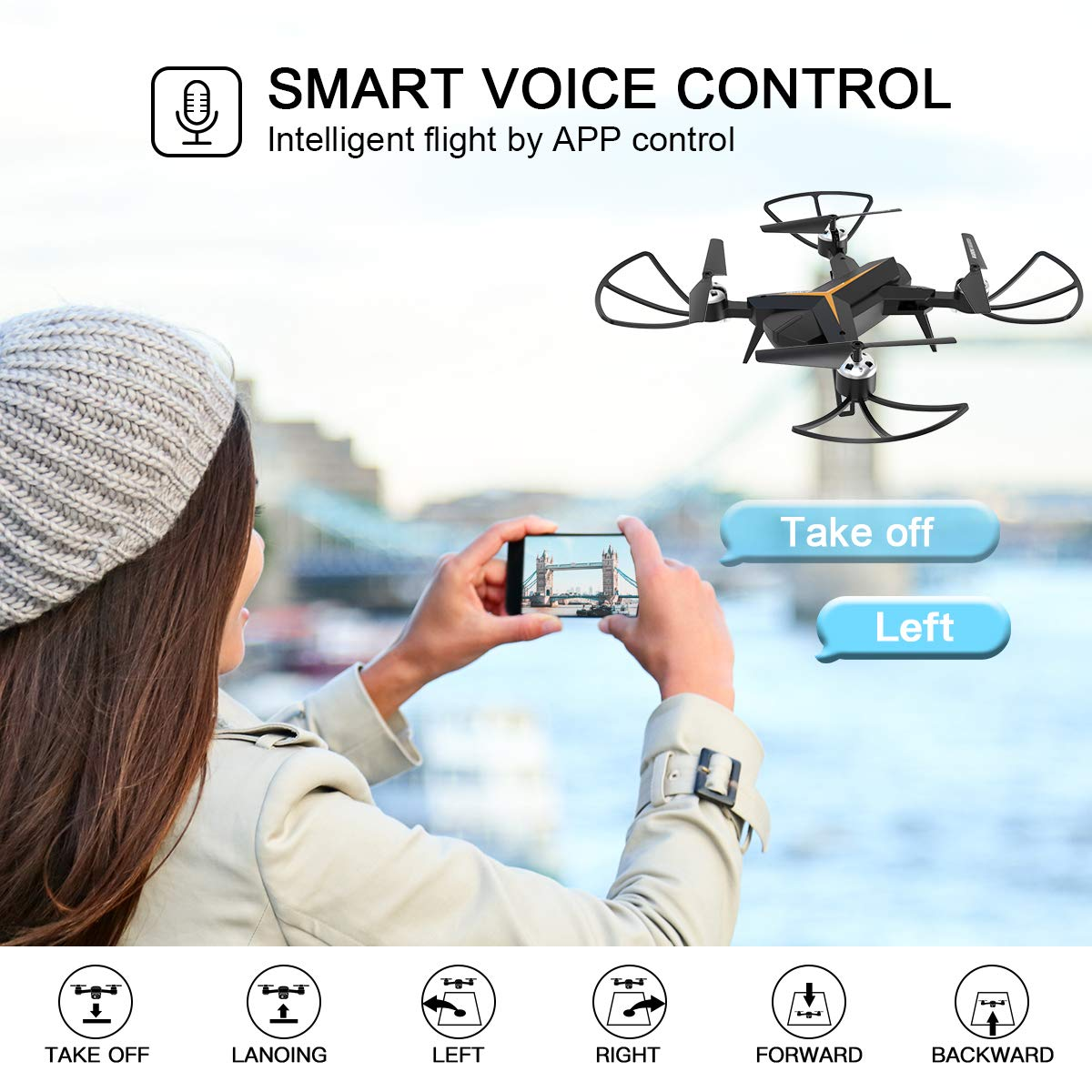 RC Quadcopter for Beginners with Altitude Hold Trajectory Flight Foldable Drone with 1080P HD Camera for Adults Auto Return Home Voice Control Gravity Sensor App Control 2 Batteries