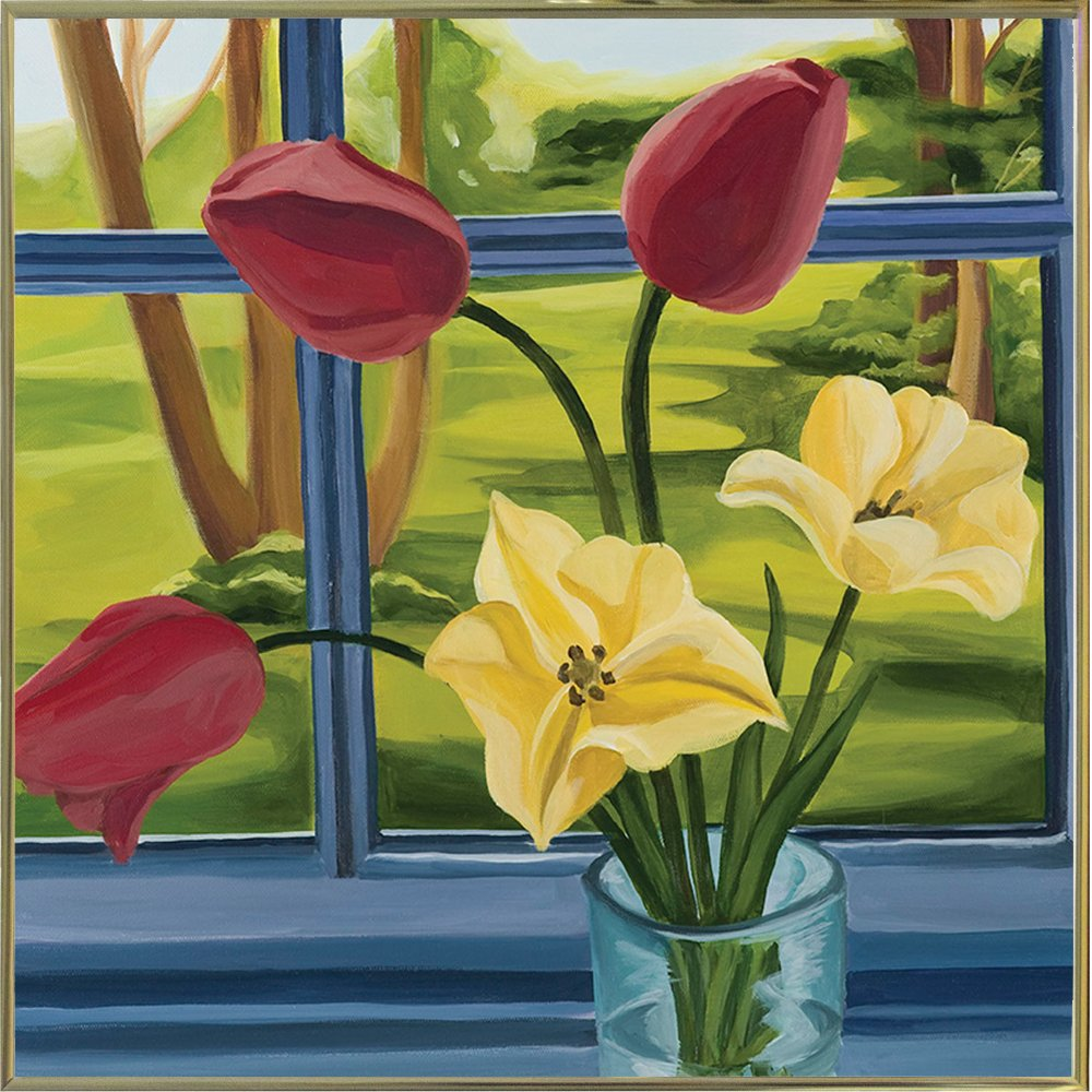Flowers In Window-CATBRE124165 Print 11''x11'' by Catherine Breer in a Gold Metal Frame