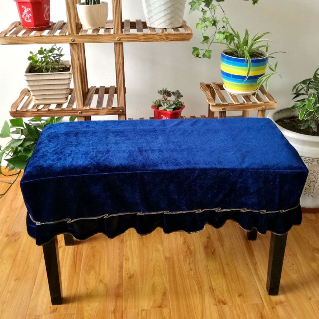 Fityle Piano Stool Chair Bench Cover Pleuche Decorated Cover for Home Hotel Bar Use - Blue 2-Seater