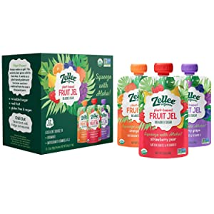 Zellee Organic Fruit Jel Pouches | Variety Pack | 12 pack | Immunity Boosting Vitamins A, C & D | Gluten-Free, Vegan, Plant-Based, No Added Sugar, Antioxidant Rich | Healthy Snack for Adults & Kids