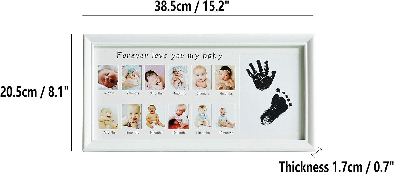 12 mois Cadre photo et conservez les empreintes de mains ou les pieds des enfants et des b/éb/és Blanc cadeau parfait pour b/éb/é Cadre photo avec empreintes de pas pour les b/éb/és mur et table