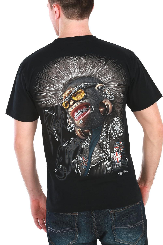 Monkey Punk T-Shirt 3D Motorcycle Hip Hop Tattoo Skateboarding Biker #T3