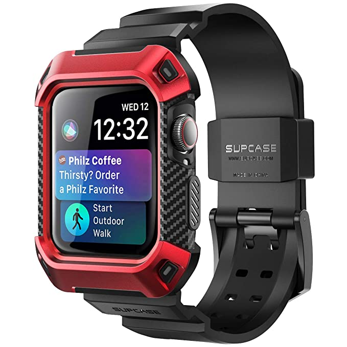 best service 3707e 454fb Apple Watch 4 Case 40mm 2018, SUPCASE [Unicorn Beetle Pro] Rugged  Protective Case with Strap Bands for Apple Watch Series 4 40mm (Red)