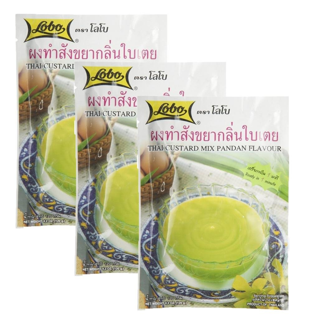 Lobo : Thai Custard Dessert Mix Pandan Flavor 4.2 Oz.(120g) - Pack of 3