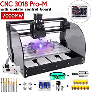 Upgrade Version 7W CNC 3018 Pro-M Engraver Machine,GRBL Control 3 Axis DIY Router Kit Plastic Acrylic PCB PVC Wood Carving Milling Engraving Machine with Offline Controller (Working Area 300 x 180 x