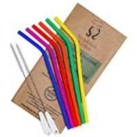 Reuseable Silicone Straws BPA Free – (x6) Eco Friendly Drinking